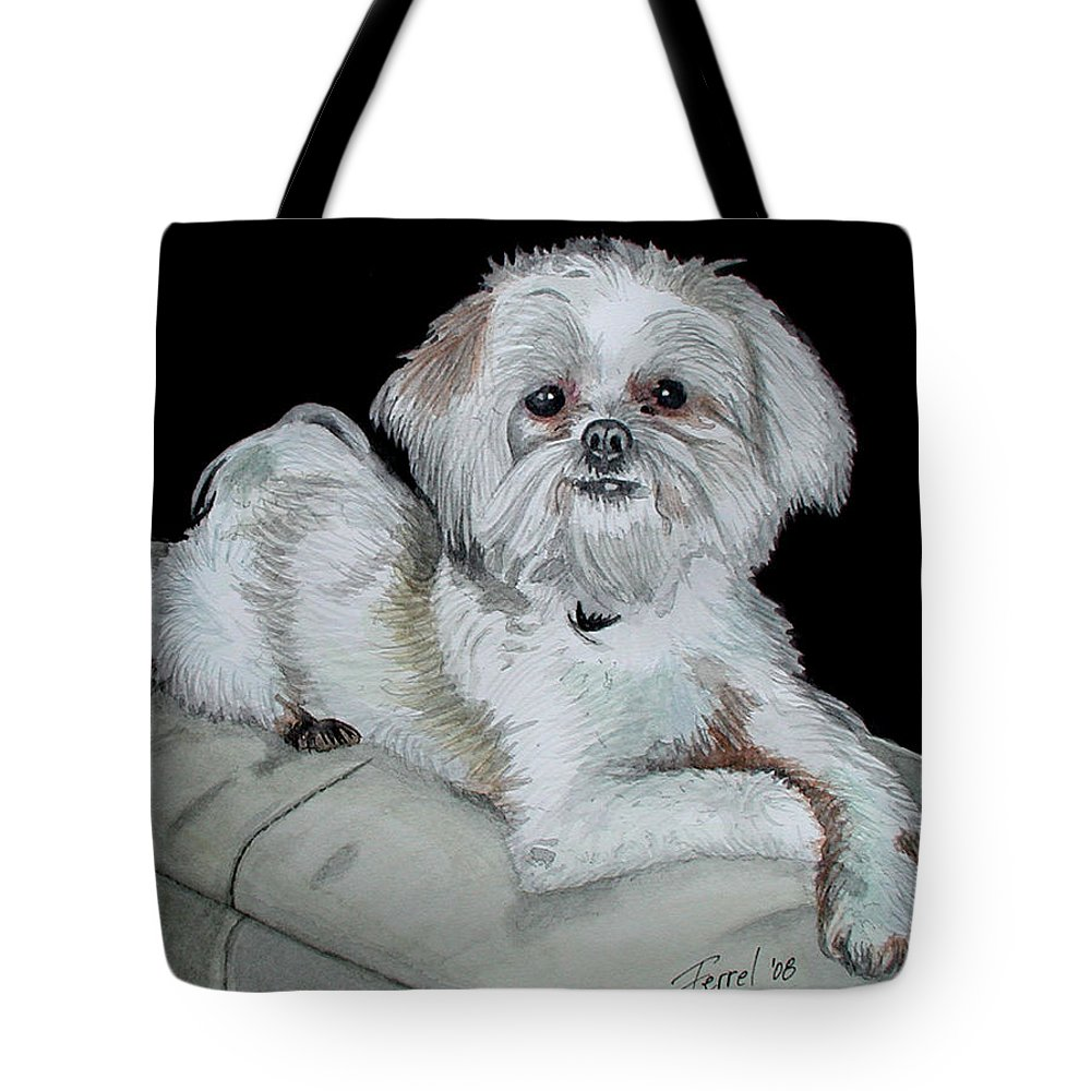 Dog Tote Bag featuring the painting Miki Dog by Ferrel Cordle