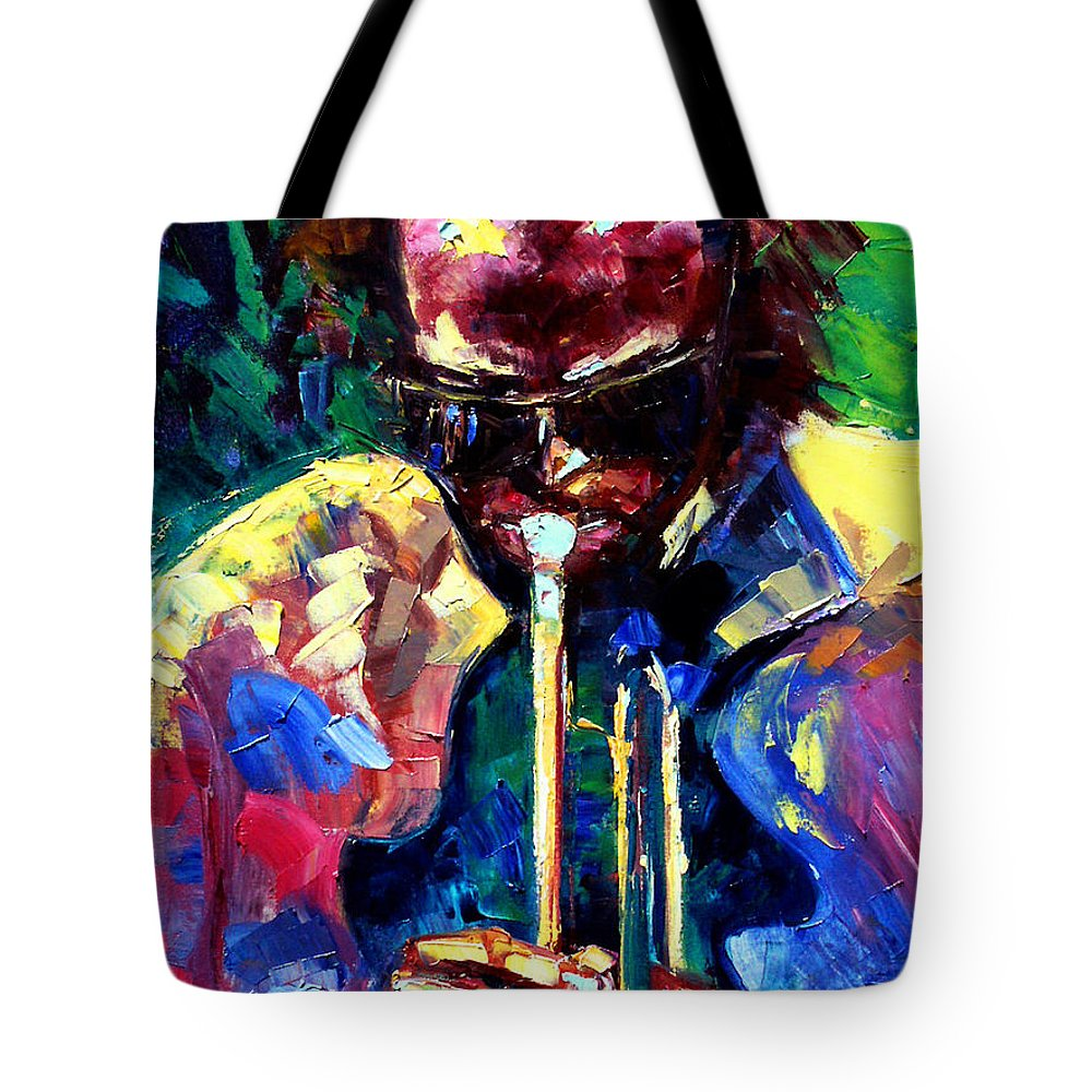 Jazz Tote Bag featuring the painting Miles and Yellow by Debra Hurd