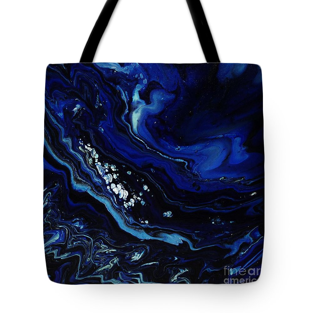 Abstract Tote Bag featuring the painting Miles Below by Katie Francis