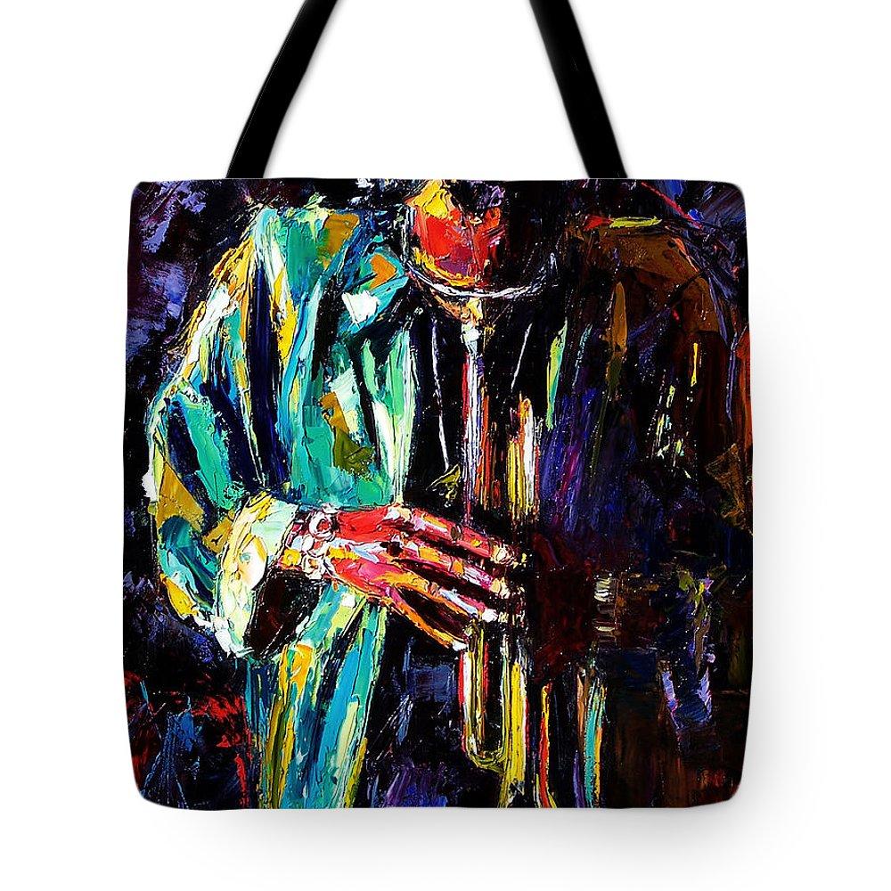 Miles Davis Tote Bag featuring the painting Miles by Debra Hurd