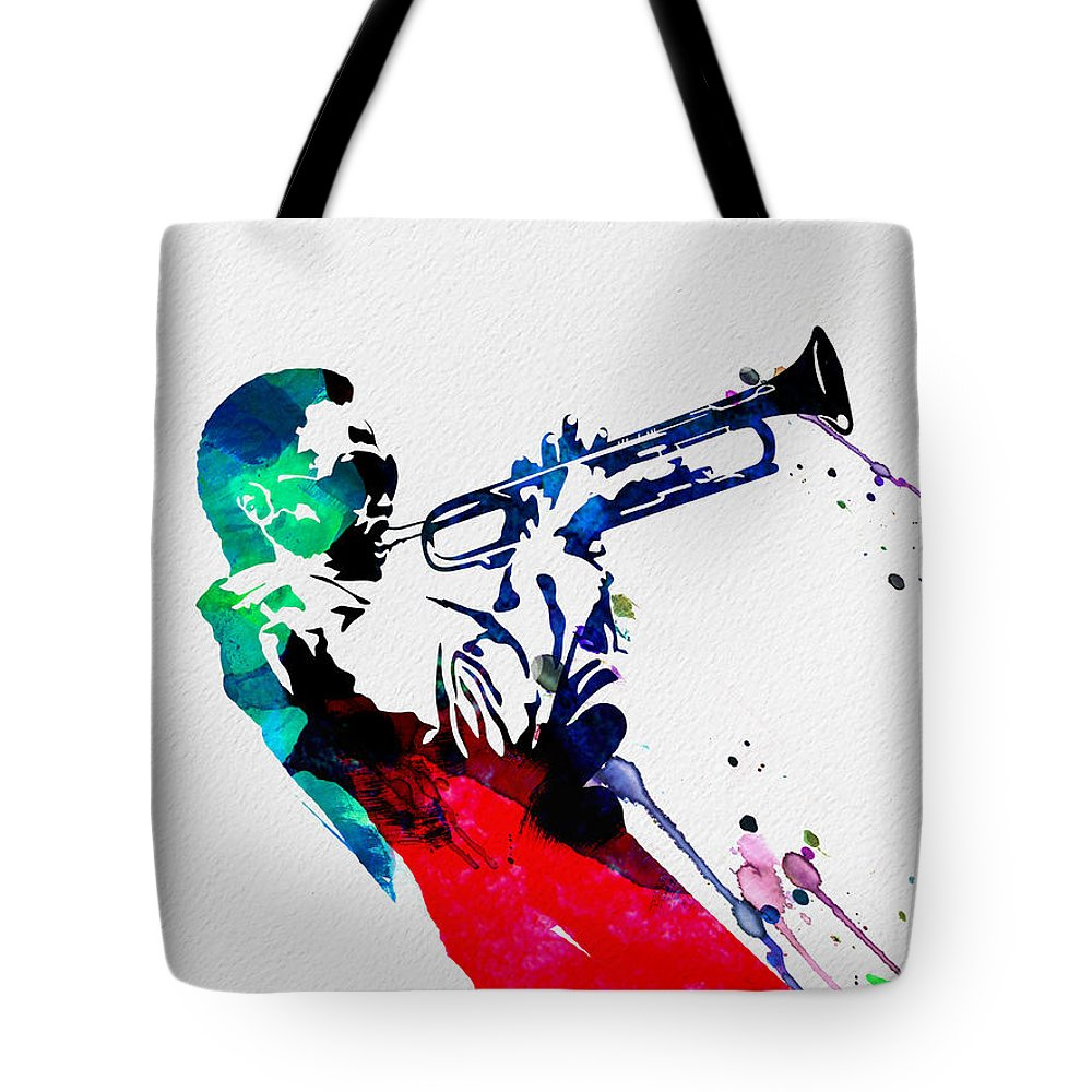 Miles Davis Tote Bag featuring the painting Miles Watercolor by Naxart Studio