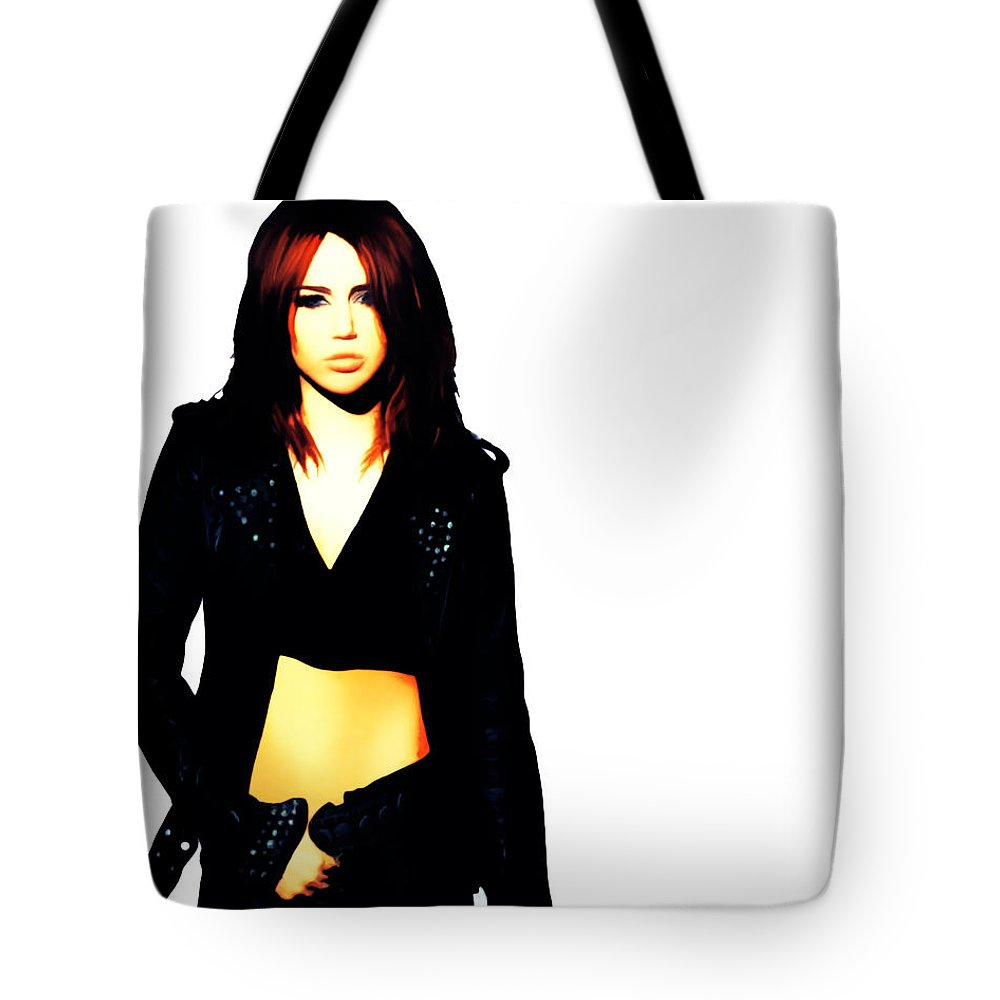 Miley Cyrus Tote Bag featuring the painting Miley Cyrus 8b by Brian Reaves