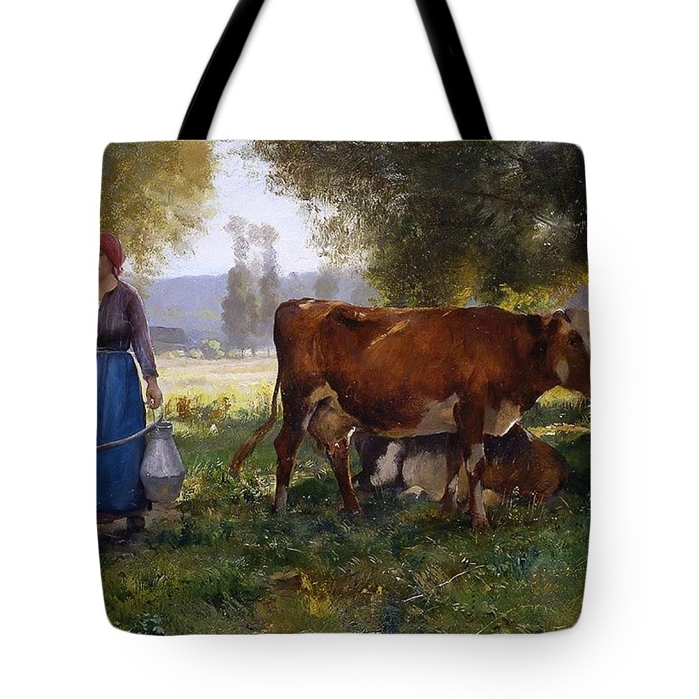 Julien Dupré - Milkmaid Tote Bag featuring the painting Milkmaid by MotionAge Designs