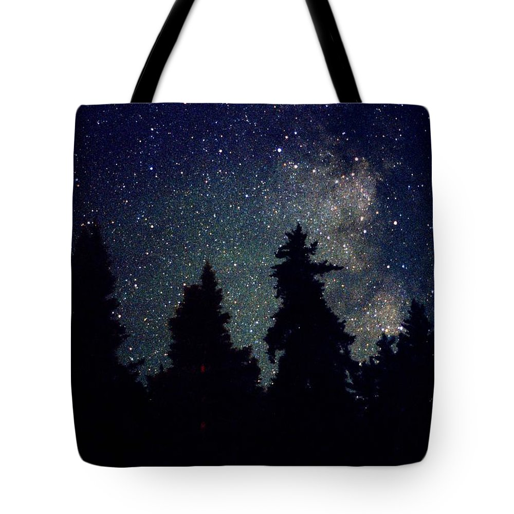 Milky Way Tote Bag featuring the photograph Milky Way Above Northern Forest 22 by Lyle Crump