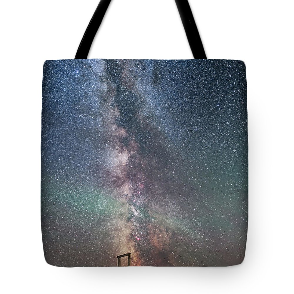 Altair Tote Bag featuring the photograph Milky Way Over An Old Ranch Corral by Alan Dyer