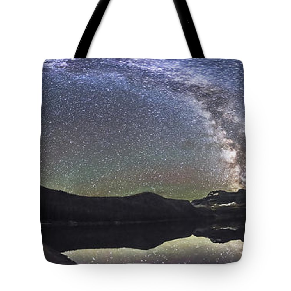 Alberta Tote Bag featuring the photograph Milky Way Panorama At Cameron Lake by Alan Dyer