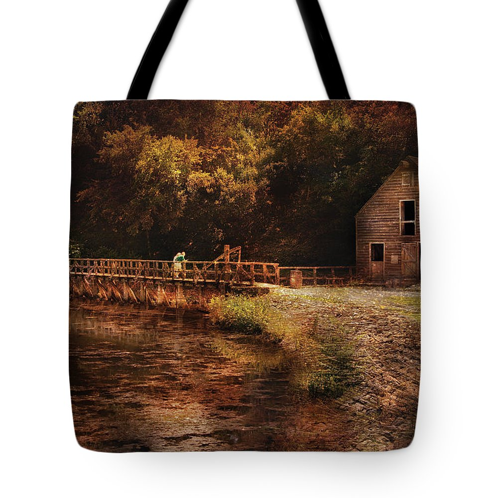 Savad Tote Bag featuring the photograph Mill - The Village Edge by Mike Savad