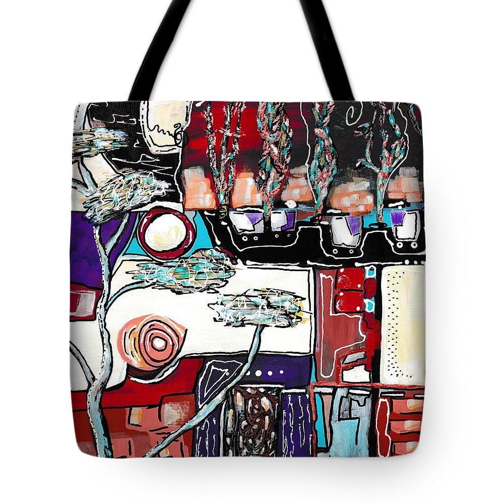 Abstract Tote Bag featuring the painting Mill Avenue by Ronda Breen