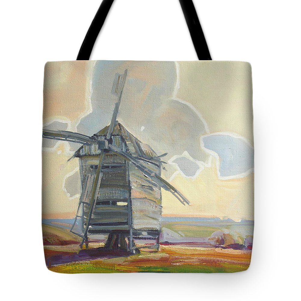Oil Tote Bag featuring the painting Mill by Sergey Ignatenko