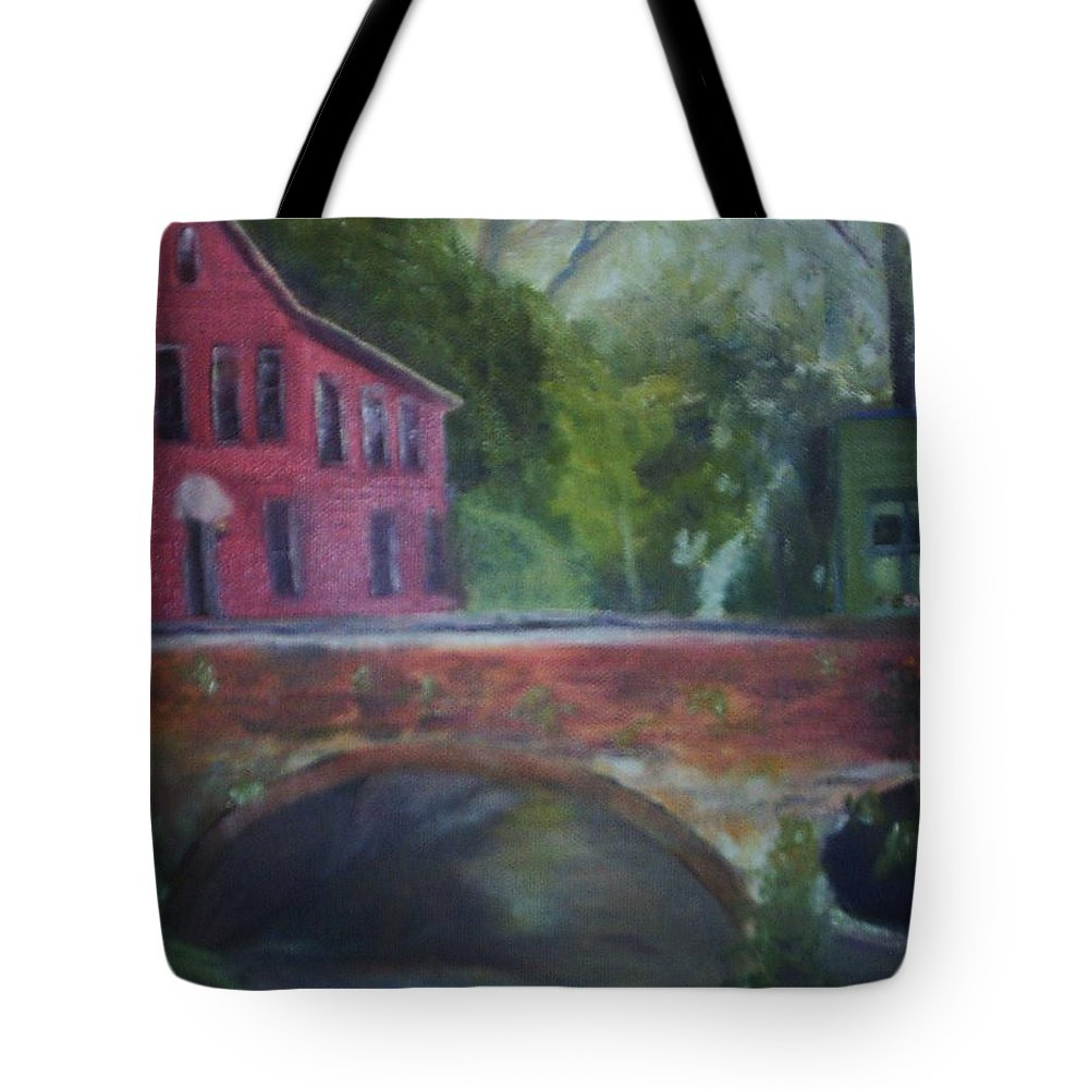Mill Street Tote Bag featuring the painting Mill Street Plein Aire by Sheila Mashaw