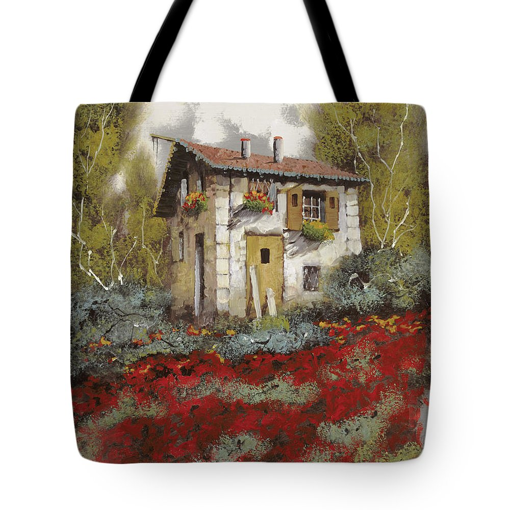 Landscape Tote Bag featuring the painting Mille Papaveri by Guido Borelli