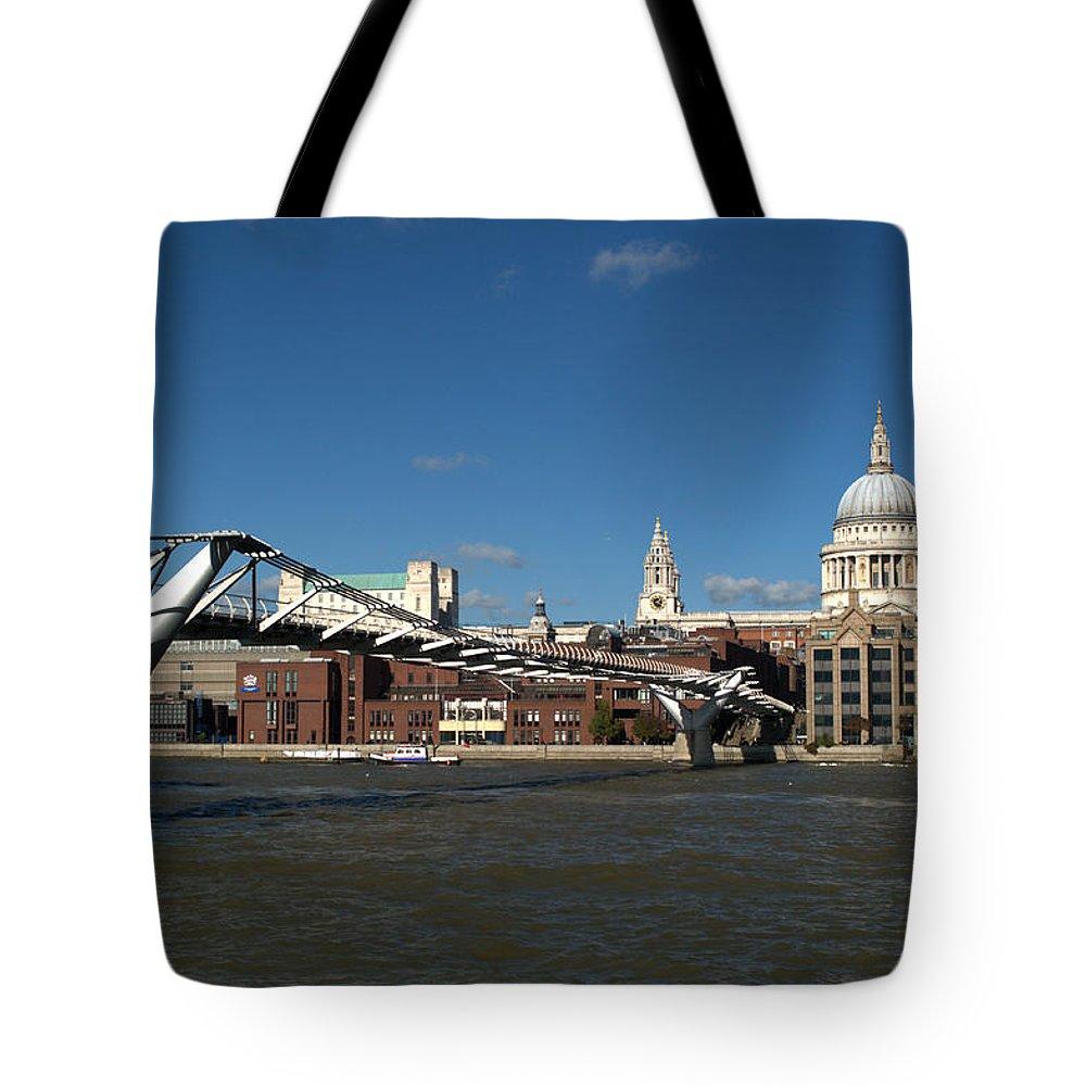 Millennium Bridge Tote Bag featuring the photograph Millennium Bridge And St Pauls by Chris Day