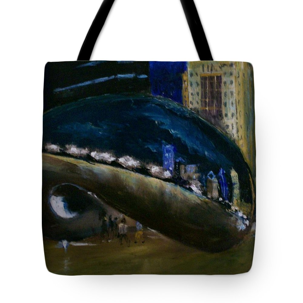 Cityscape Tote Bag featuring the painting Millennium Park - Chicago by Stephen King