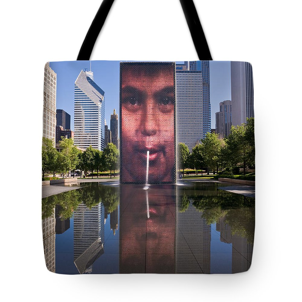 Art Tote Bag featuring the photograph Millennium Park Fountain And Chicago Skyline by Steve Gadomski