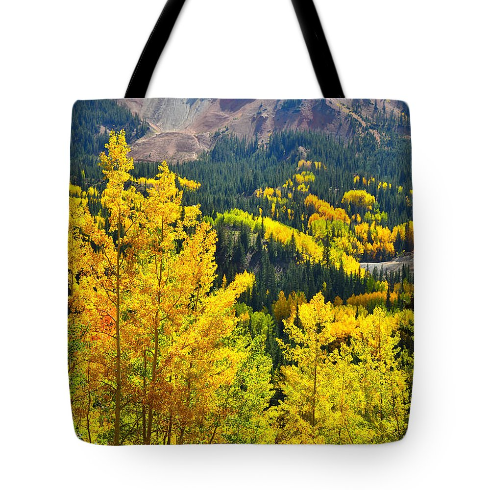 Colorado Tote Bag featuring the photograph Million Dollar Highway Aspens by Ray Mathis