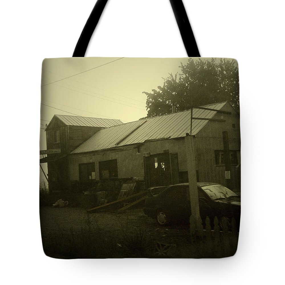 Milltown Tote Bag featuring the photograph Milltown Merchantile by Tim Nyberg