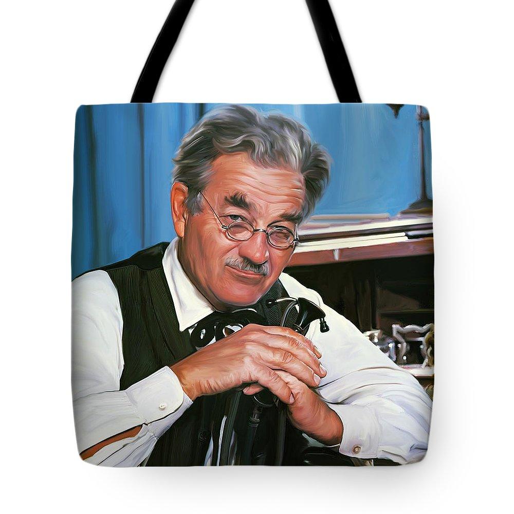 Hugh Milburn Stone Tote Bag featuring the digital art Milly Doc Stone by Greg Joens