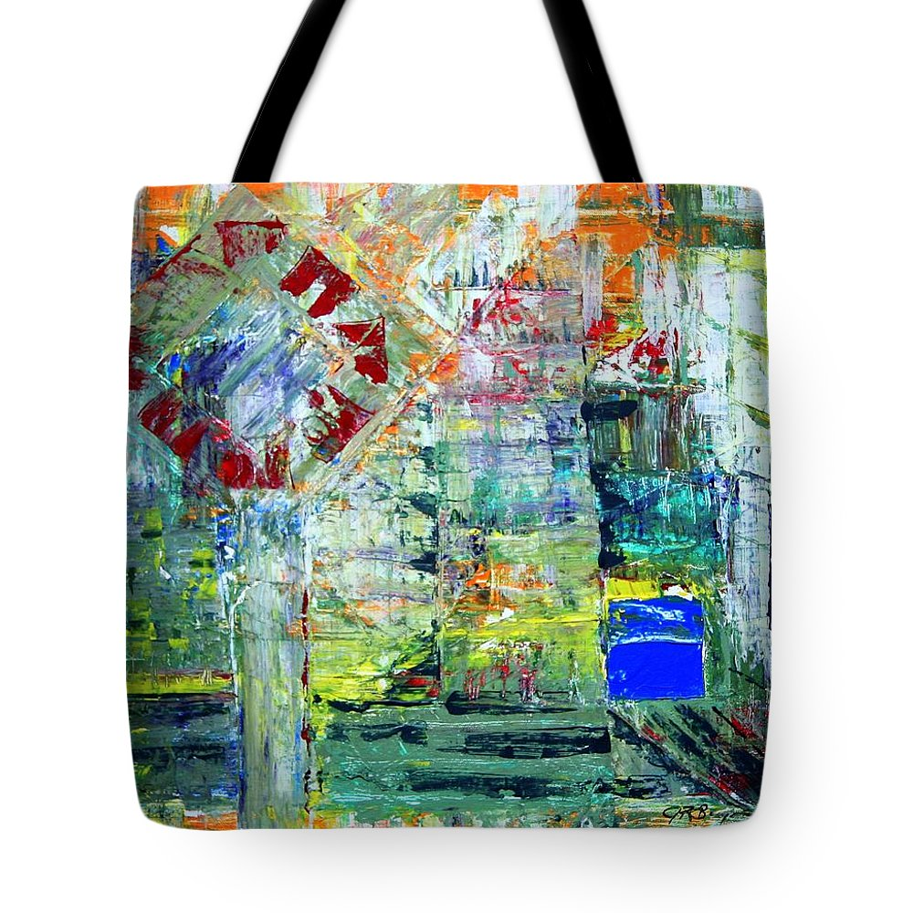 Abstract Tote Bag featuring the painting Milton Place by J R Seymour