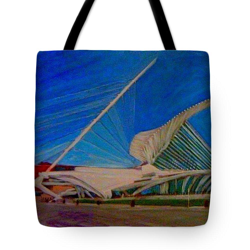 Mam Tote Bag featuring the mixed media Milwaukee Art Museum by Anita Burgermeister