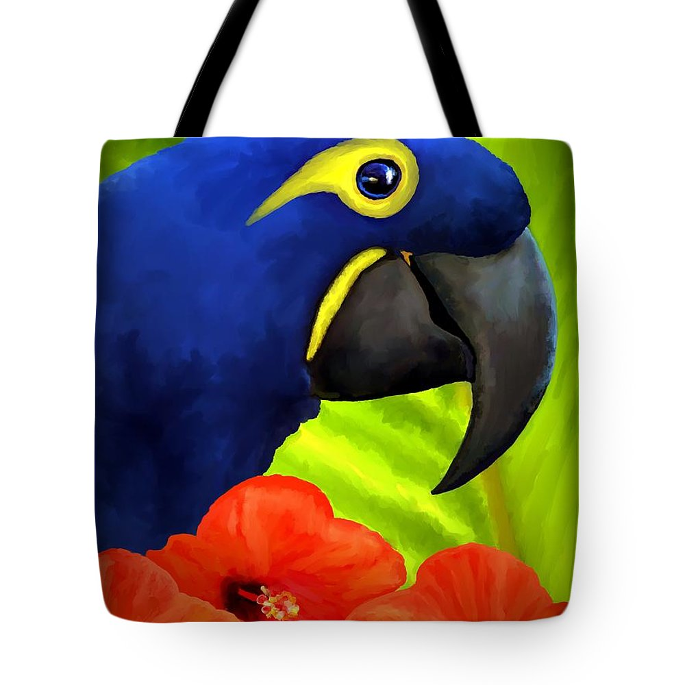 Hyacinth Macaw Tote Bag featuring the painting Mimi by David Wagner