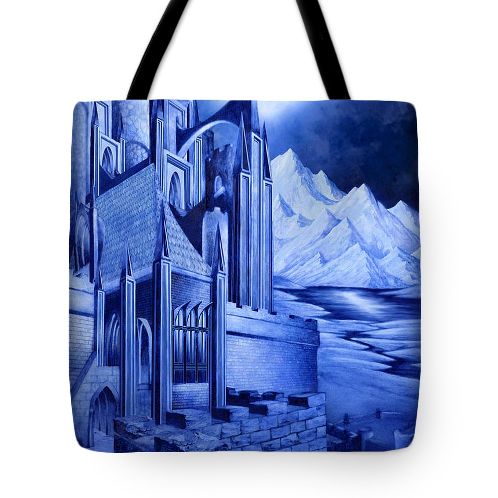 Lord Of The Rings Tote Bag featuring the mixed media Minas Tirith by Curtiss Shaffer