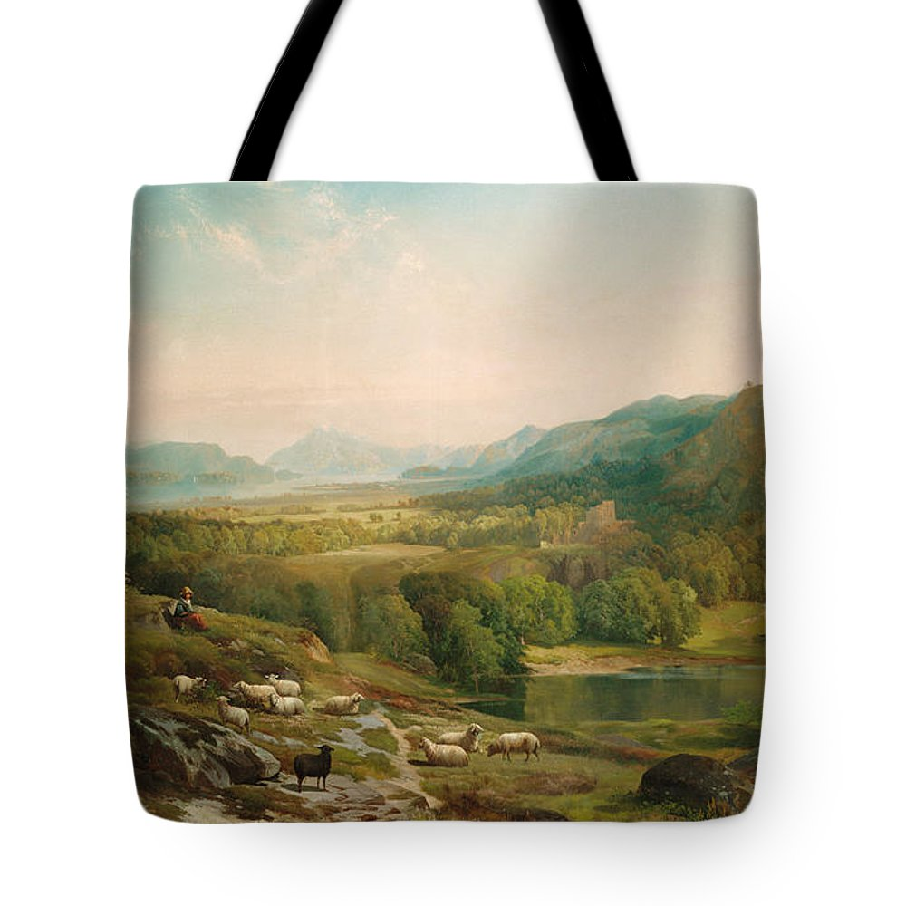 Thomas Moran Tote Bag featuring the painting Minding The Flock by Thomas Moran