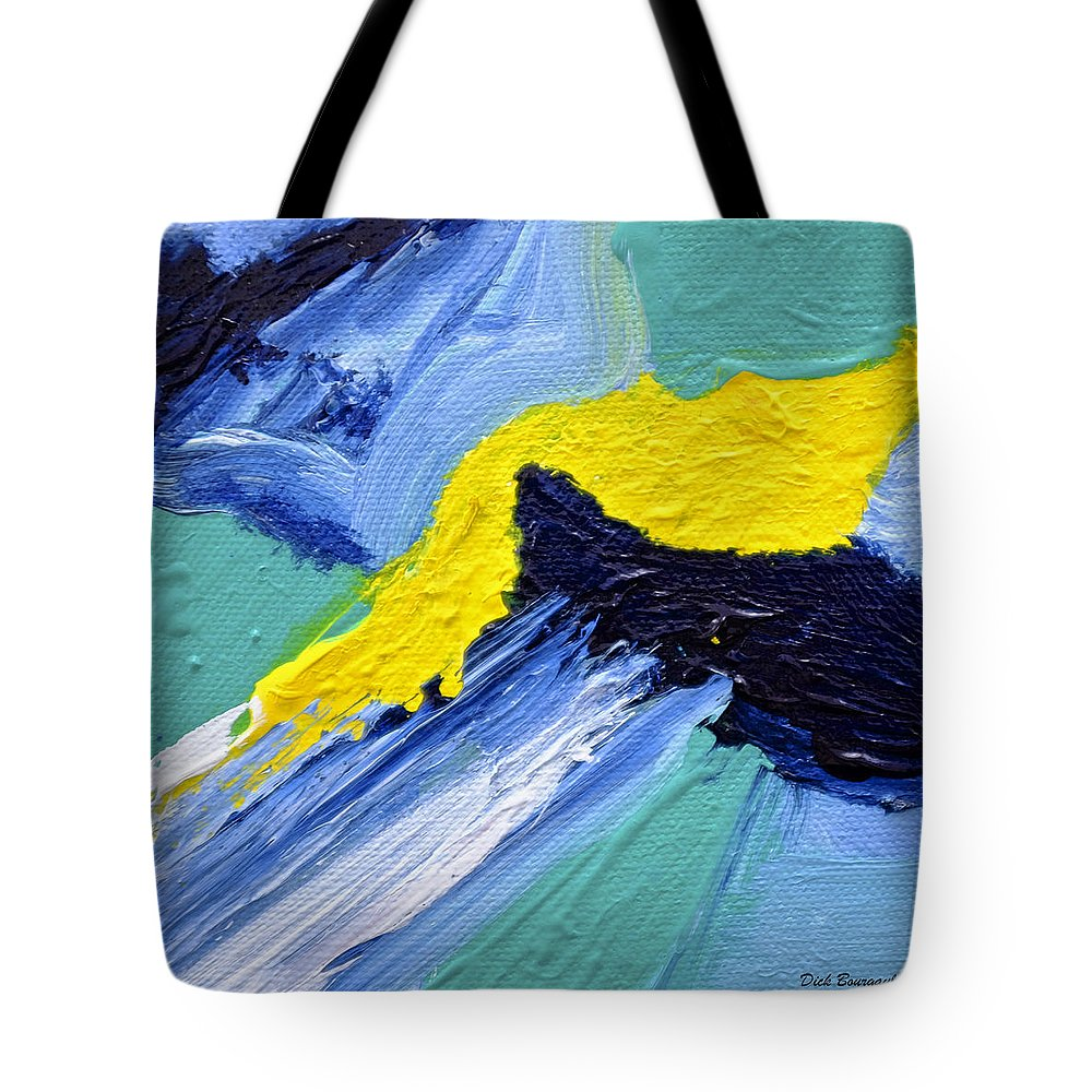 Abstract Tote Bag featuring the painting Mini #130 by Dick Bourgault