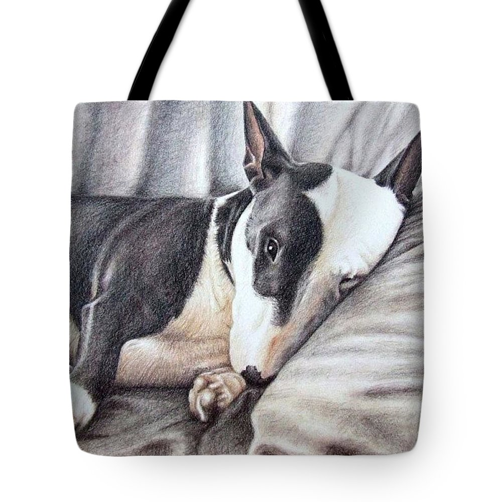 Dog Tote Bag featuring the drawing Mini Bulldog Terrier by Nicole Zeug