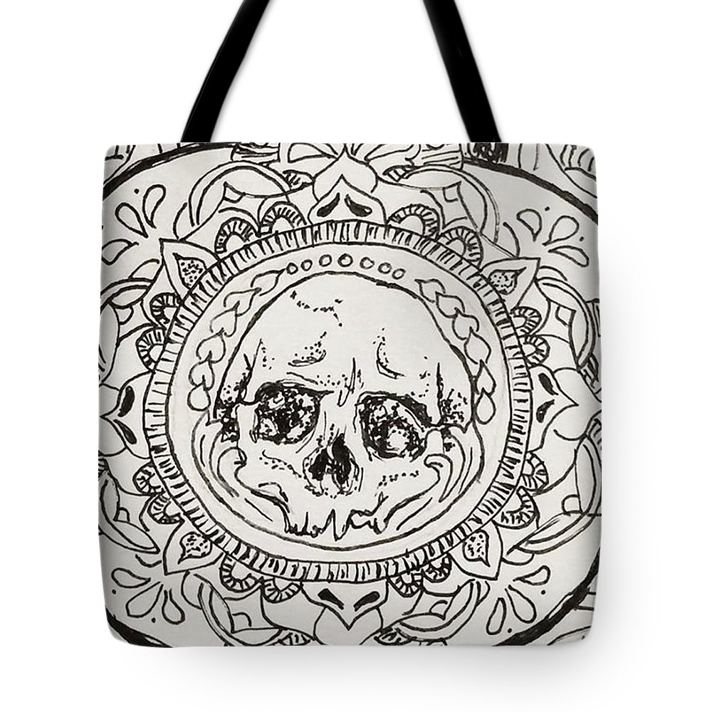 Birthdaycard Tote Bag featuring the drawing Skull Mandala by Faithc Original Artwork