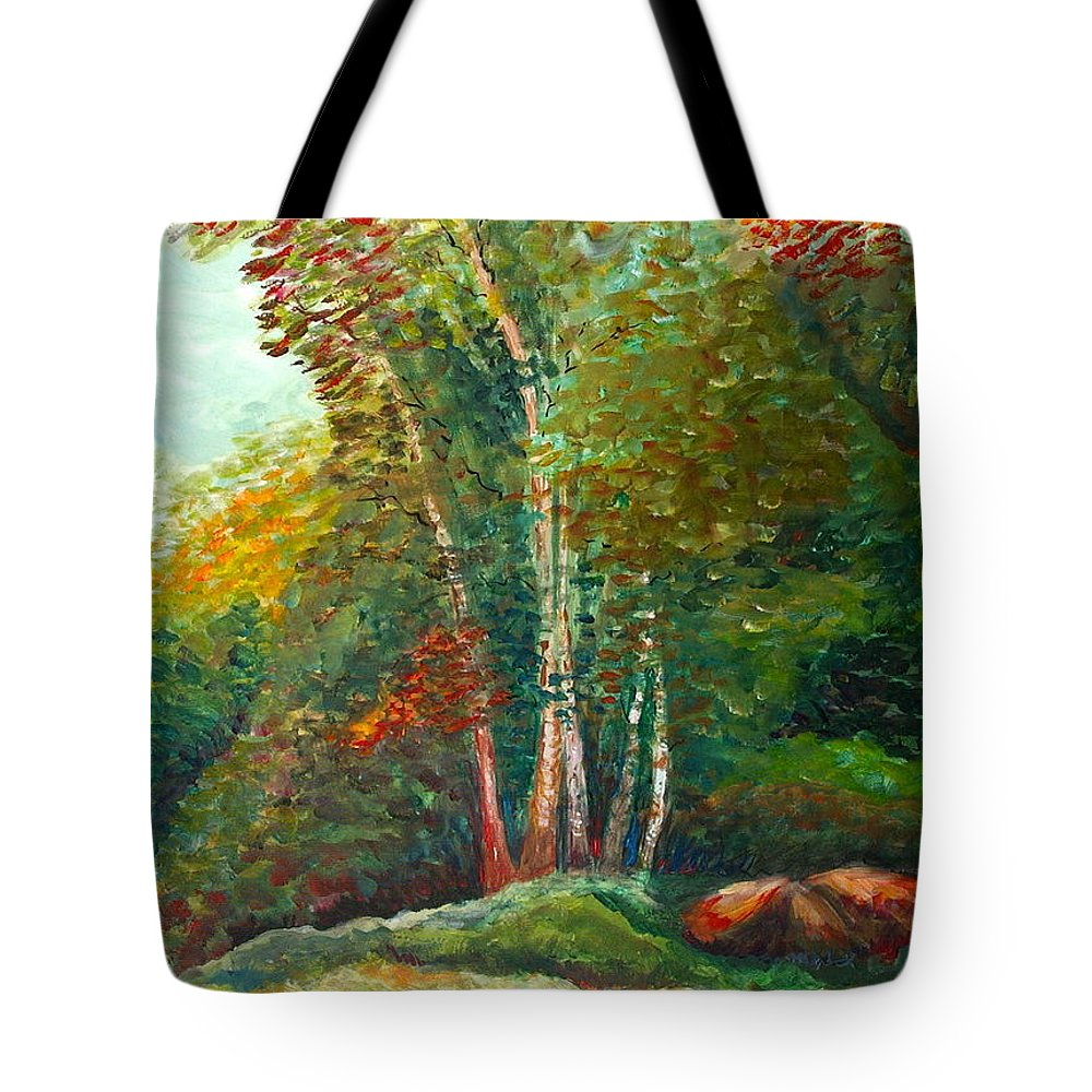Landscape Tote Bag featuring the painting Minnesota Quartet by Nadine Rippelmeyer