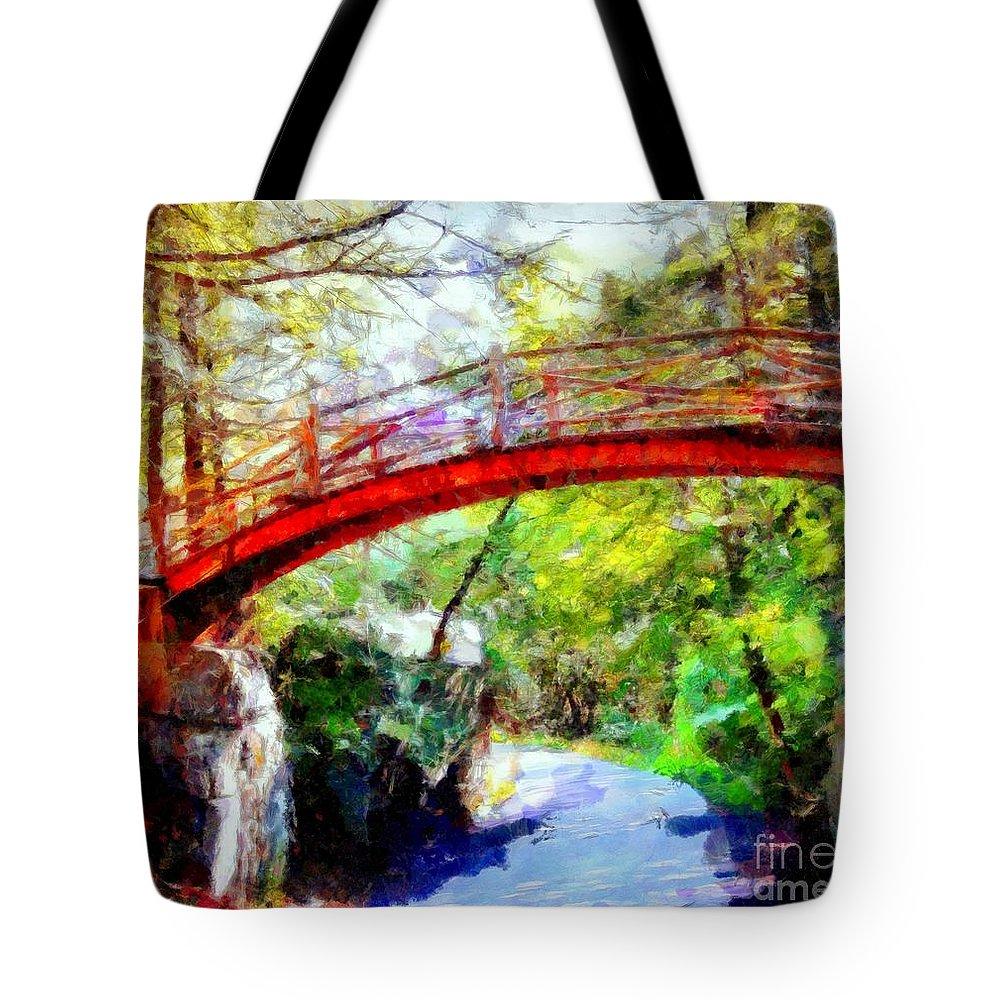 Minnewaska Tote Bag featuring the digital art Minnewaska Wooden Bridge by Janine Riley