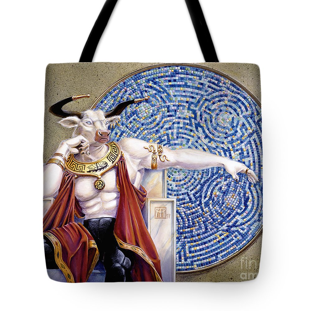Anthropomorphic Tote Bag featuring the painting Minotaur with Mosaic by Melissa A Benson