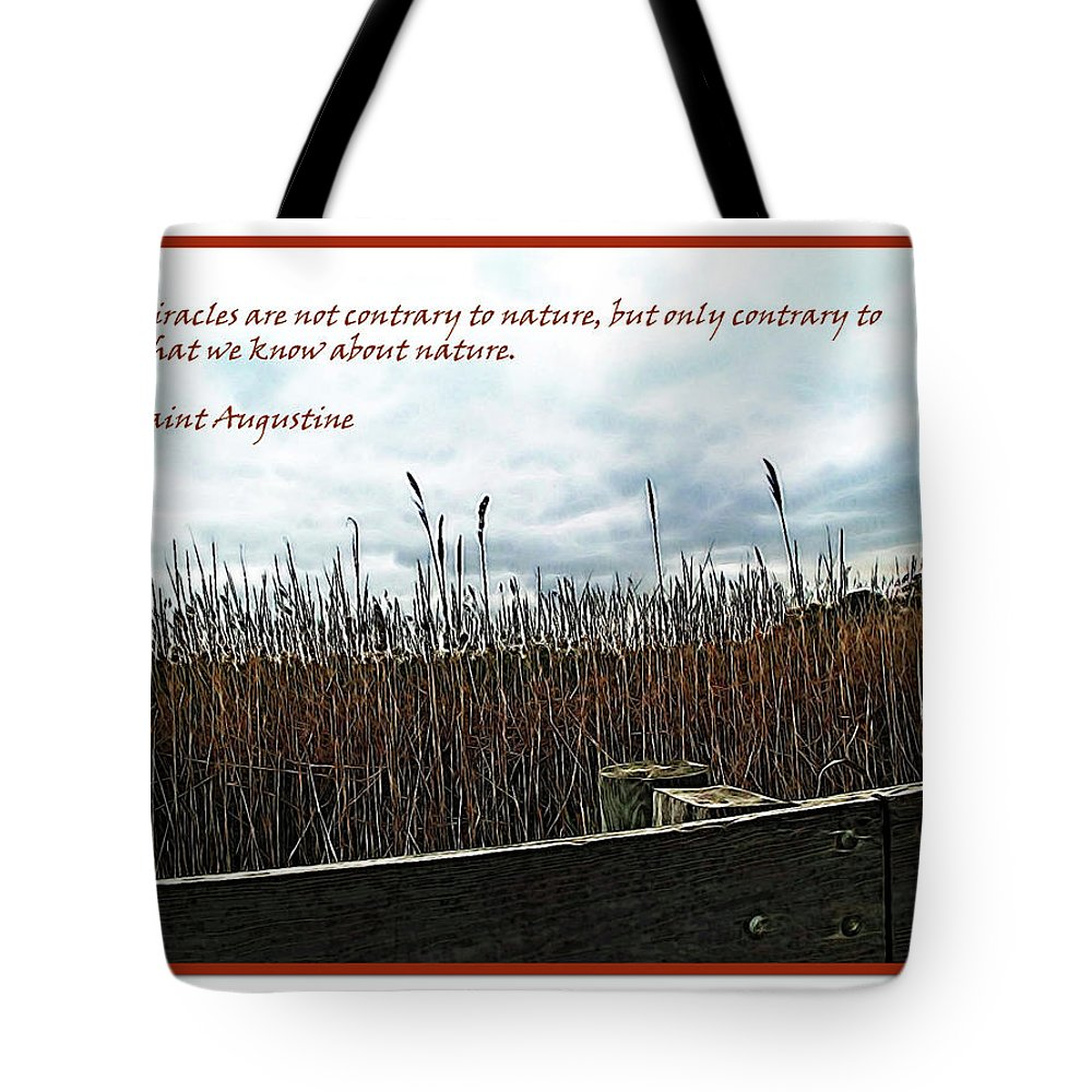 Brown Tote Bag featuring the digital art Miracle Landscape And Inspiration by Joan Minchak