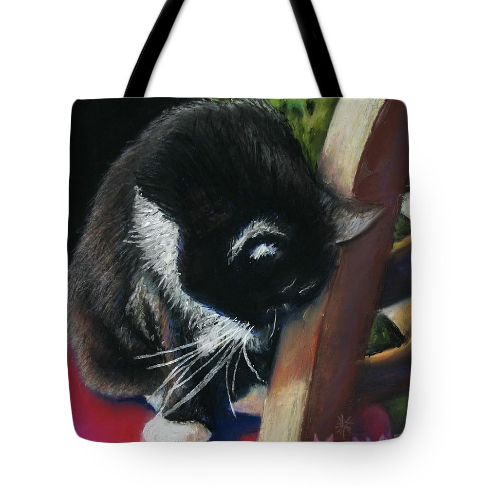 Cat Tote Bag featuring the painting Kitty Chair by Minaz Jantz