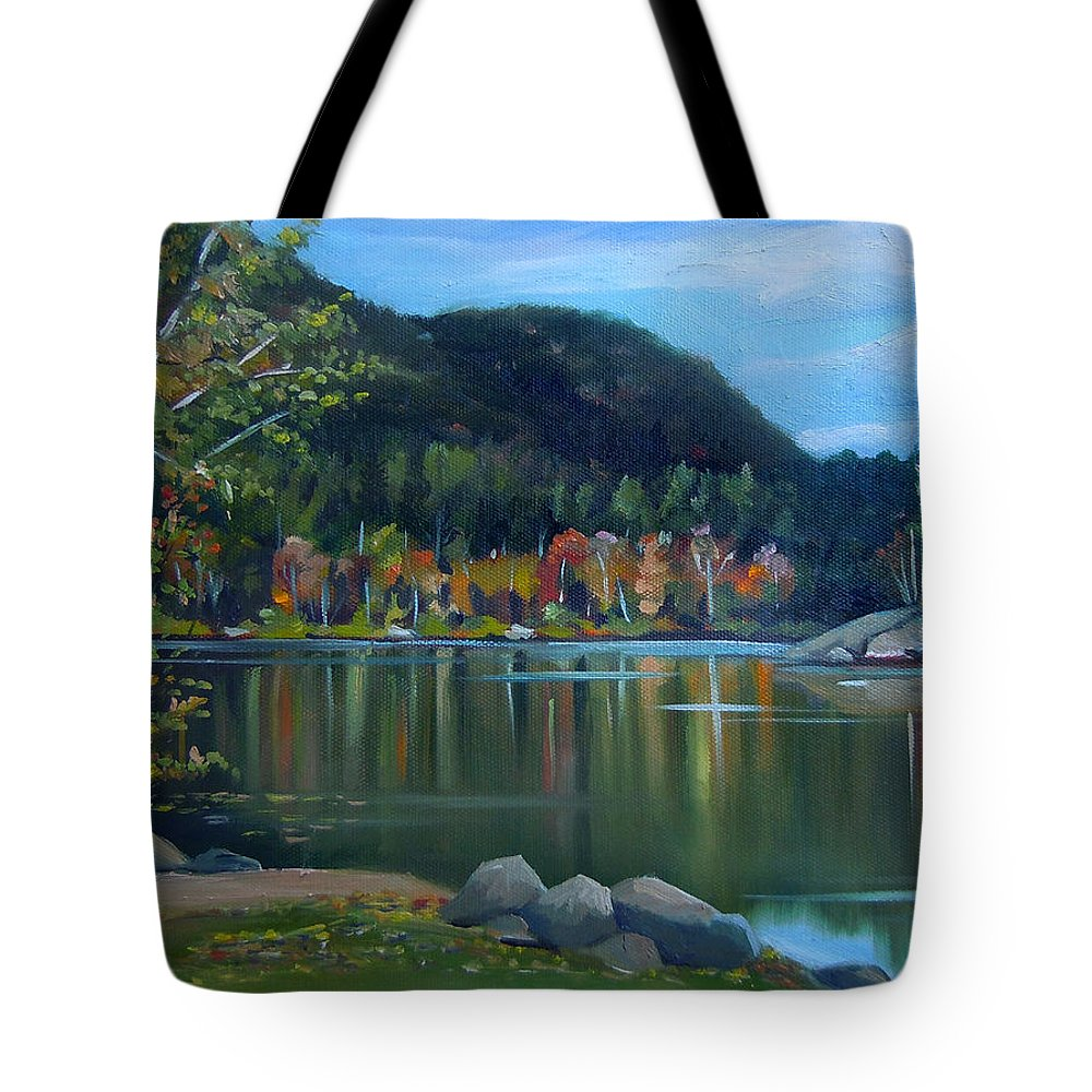 White Mountains Tote Bag featuring the painting Mirror Lake In Woodstock New Hampshire by Nancy Griswold