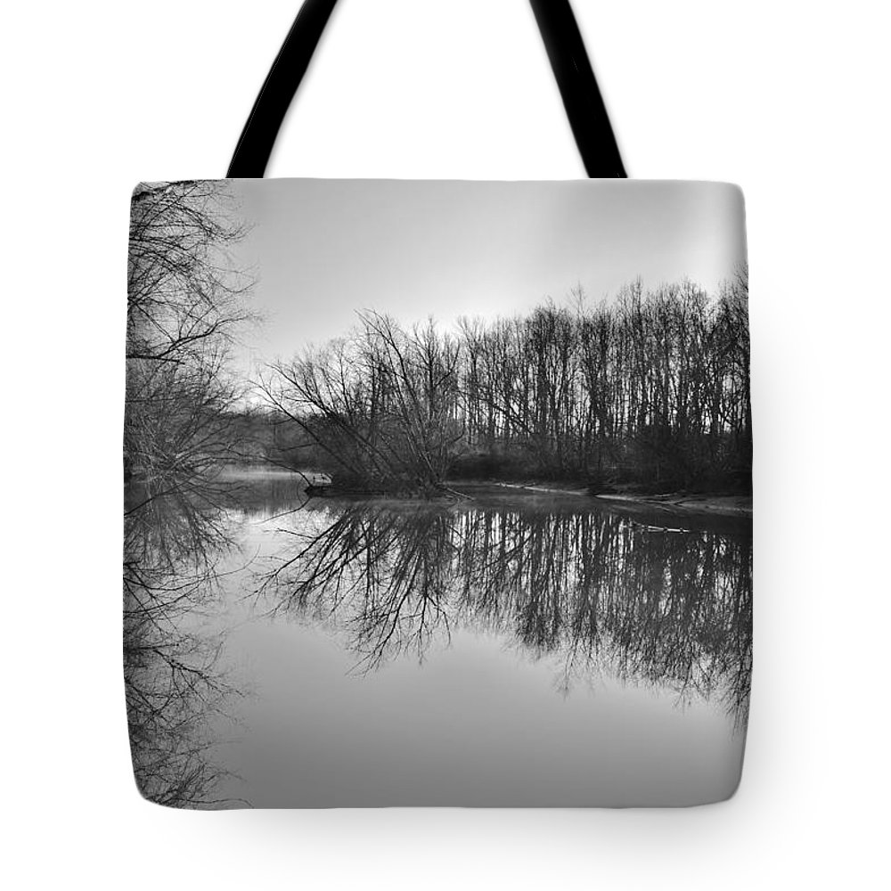 Black And White Tote Bag featuring the photograph Mirror River by Christopher Caldwell