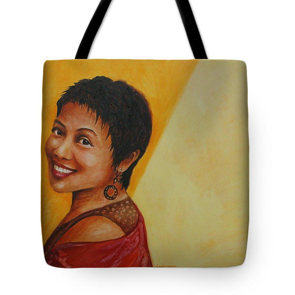Mirth Tote Bag featuring the painting Mirth - Ela by Jun Jamosmos