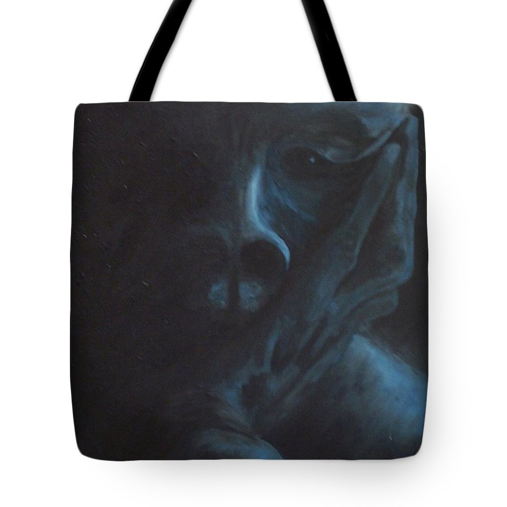 Sad Tote Bag featuring the painting Misery by Gale Cochran-Smith