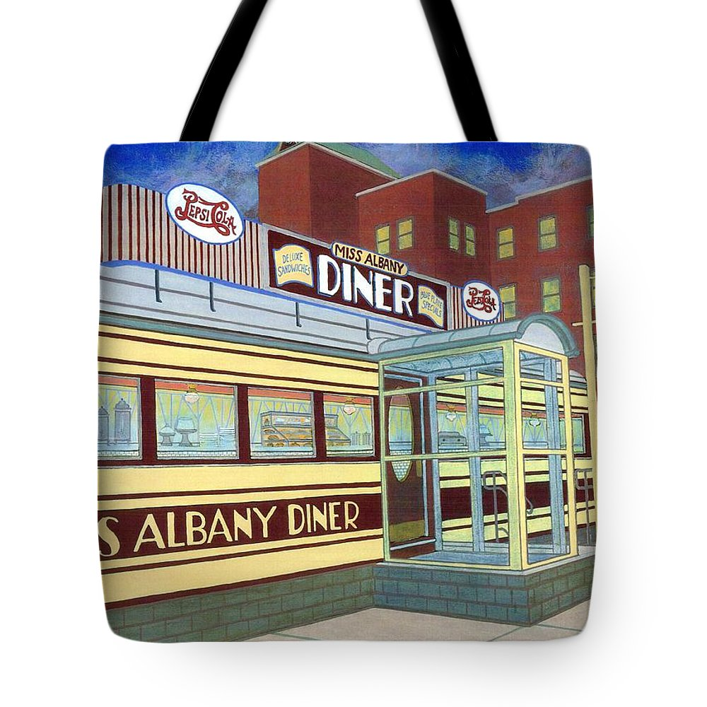 Landscape Tote Bag featuring the painting Miss Albany Diner by David Hinchen