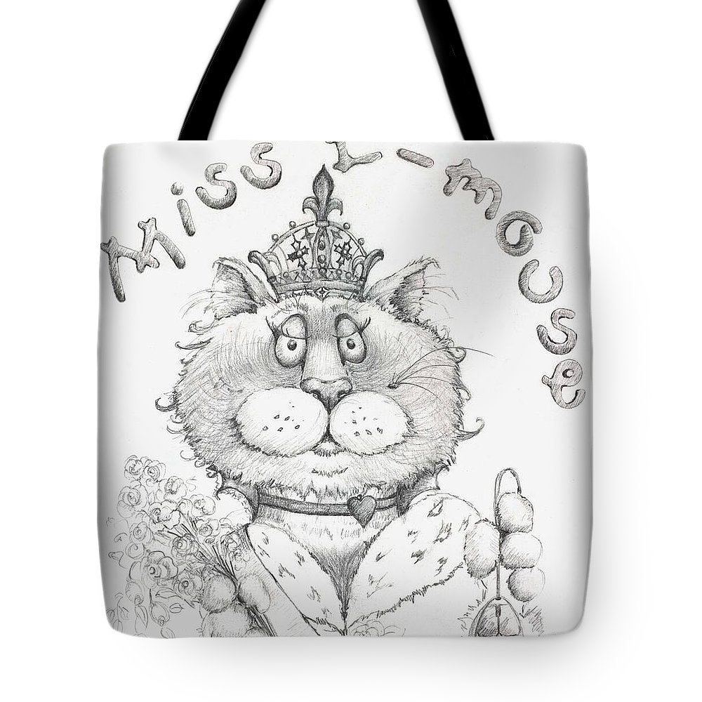 Cat Tote Bag featuring the drawing Miss E-mouse by Mary-Lee Sanders