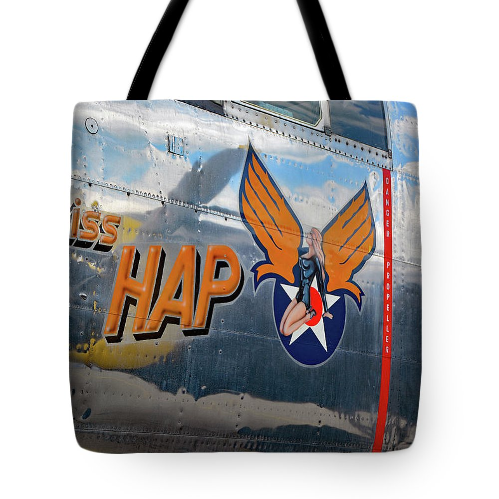 Aviation Tote Bag featuring the photograph Miss Hap by John Schneider