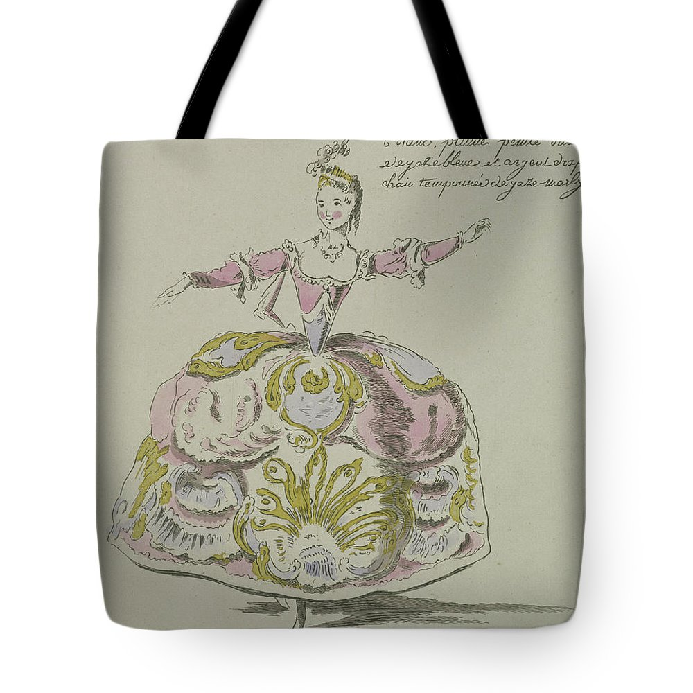 Baroque Tote Bag featuring the drawing Miss Puvigne As Air, In Zoroastre, A Libretto By Cahusac by French School