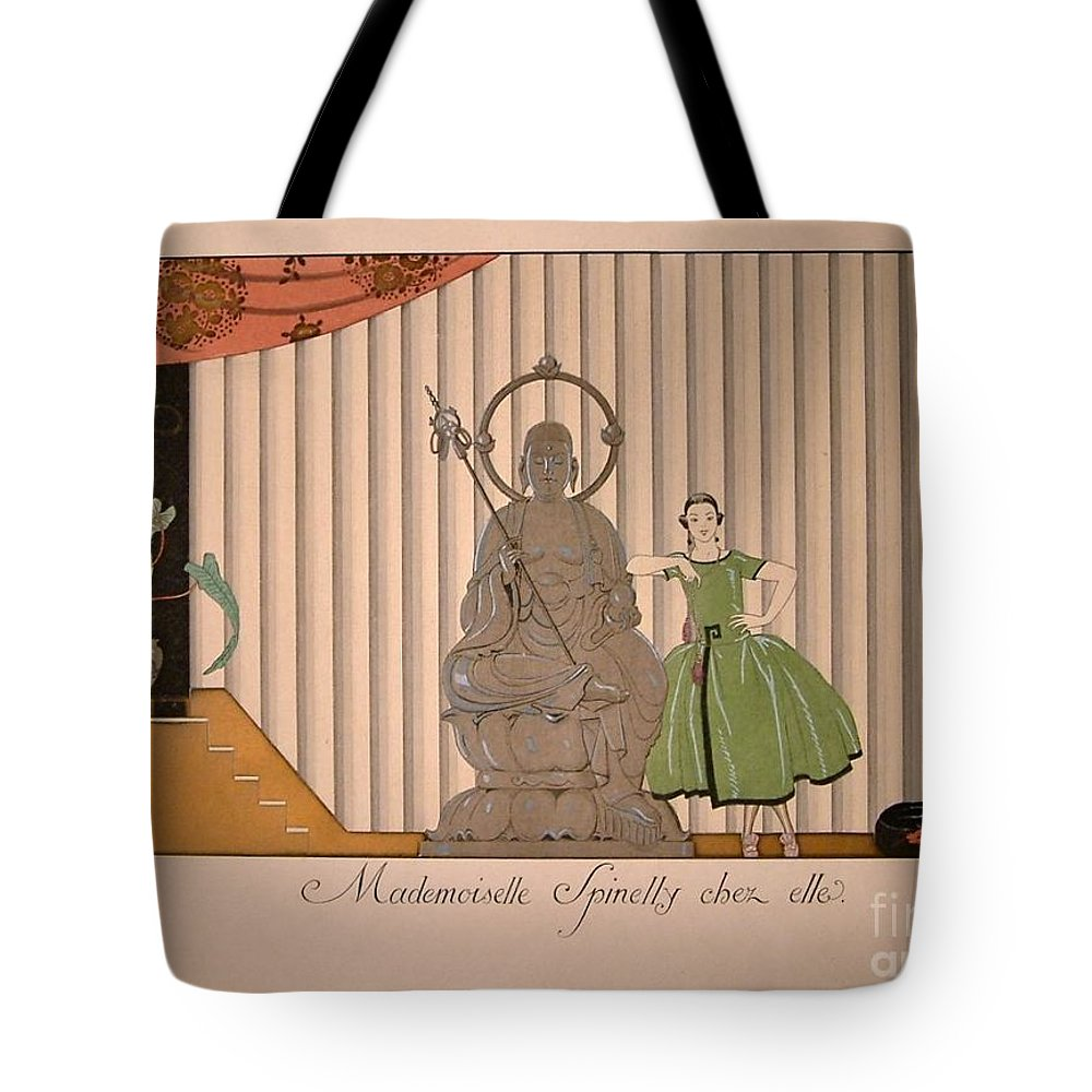 Georges Barbier Tote Bag featuring the painting Miss Spinelly At Home by Celestial Images