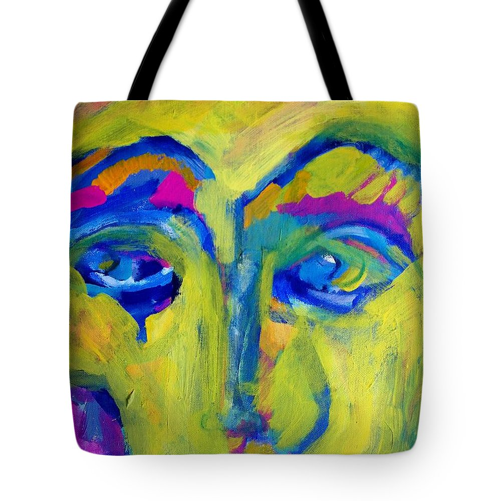 Abstract Tote Bag featuring the painting Missing You by Judith Redman