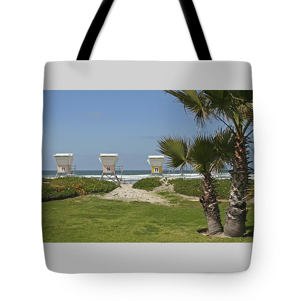 Beach Tote Bag featuring the photograph Mission Beach Shelters by Margie Wildblood