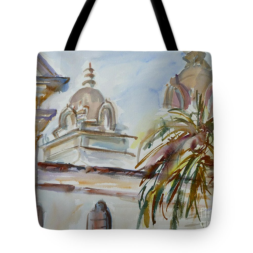 Mission Tote Bag featuring the painting Mission Breath by Xueling Zou