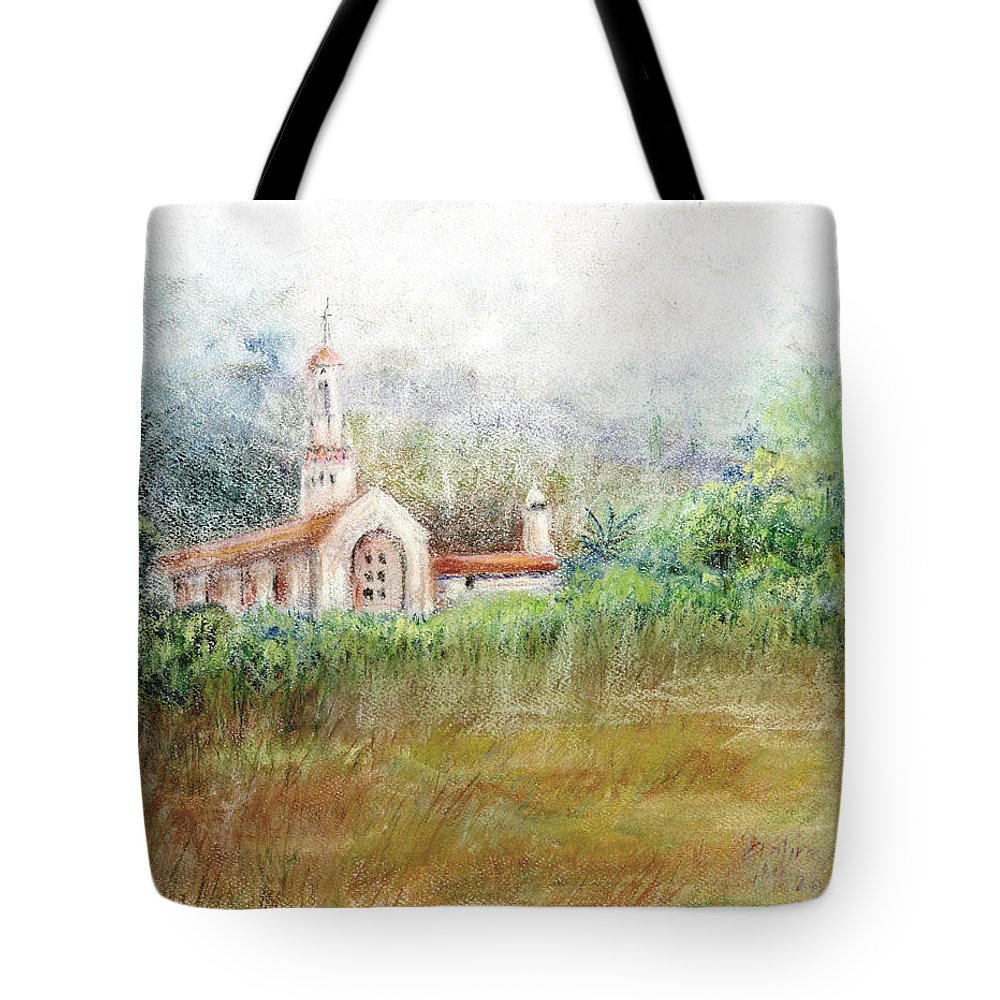 Mission Tote Bag featuring the pastel Mission In The Fog by Arline Wagner