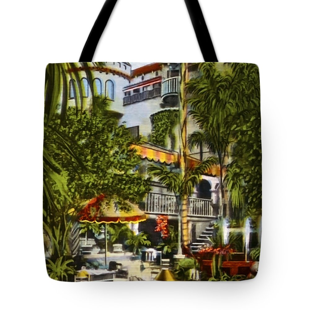 Spanish Patio Tote Bag featuring the photograph Mission Inn Spanish Patio 1940s by Sad Hill - Bizarre Los Angeles Archive