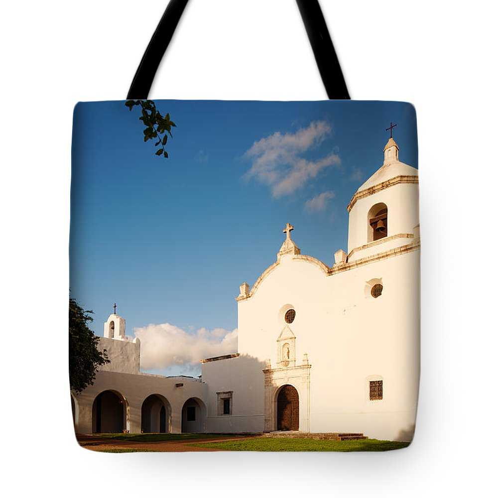 Mission Tote Bag featuring the photograph Mission Nuestra Senora Del Espiritu Santo De Zuniga At Sunset - Goliad Coastal Bend Texas by Silvio Ligutti