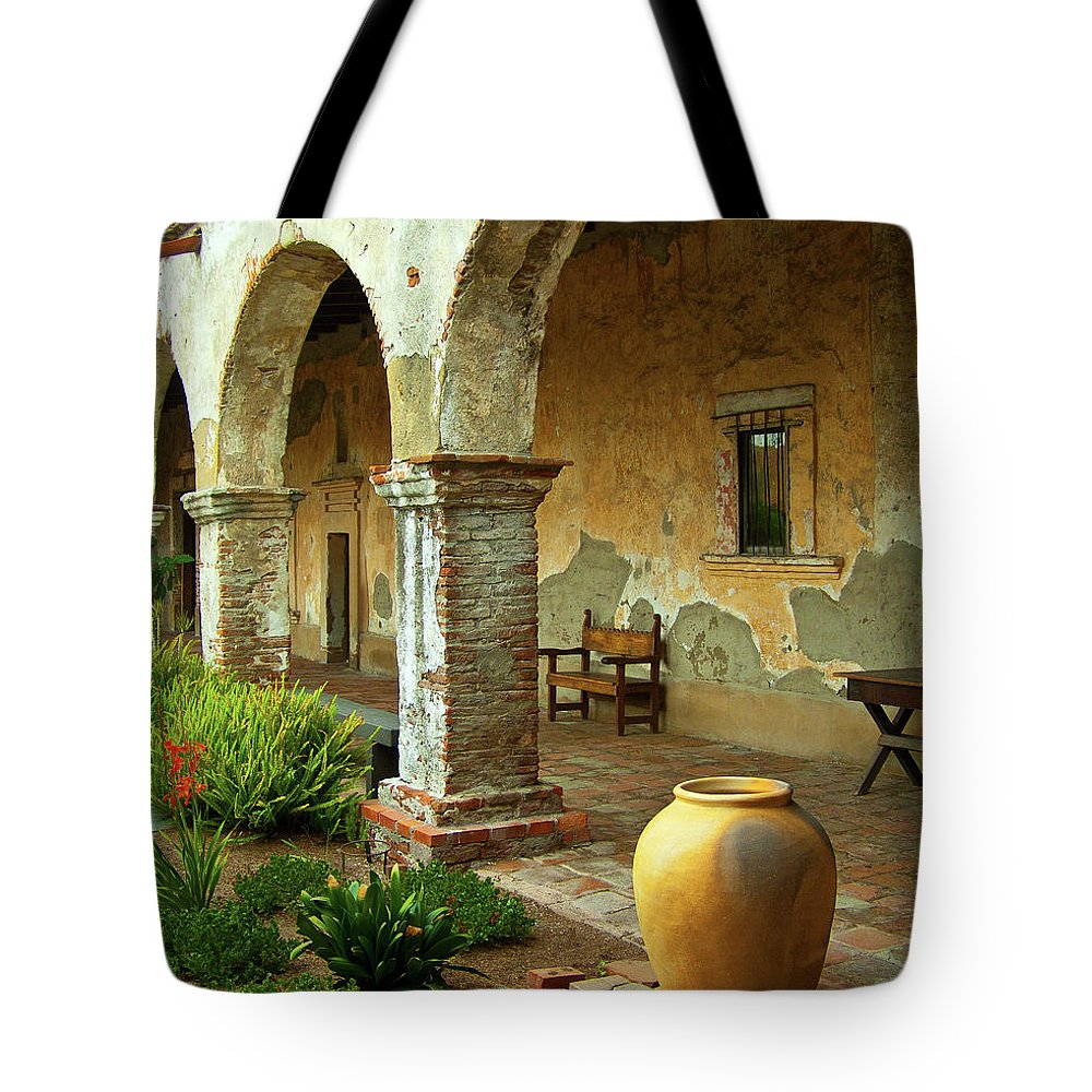 California Missions Tote Bag featuring the photograph Mission San Juan Capistrano, California by Denise Strahm